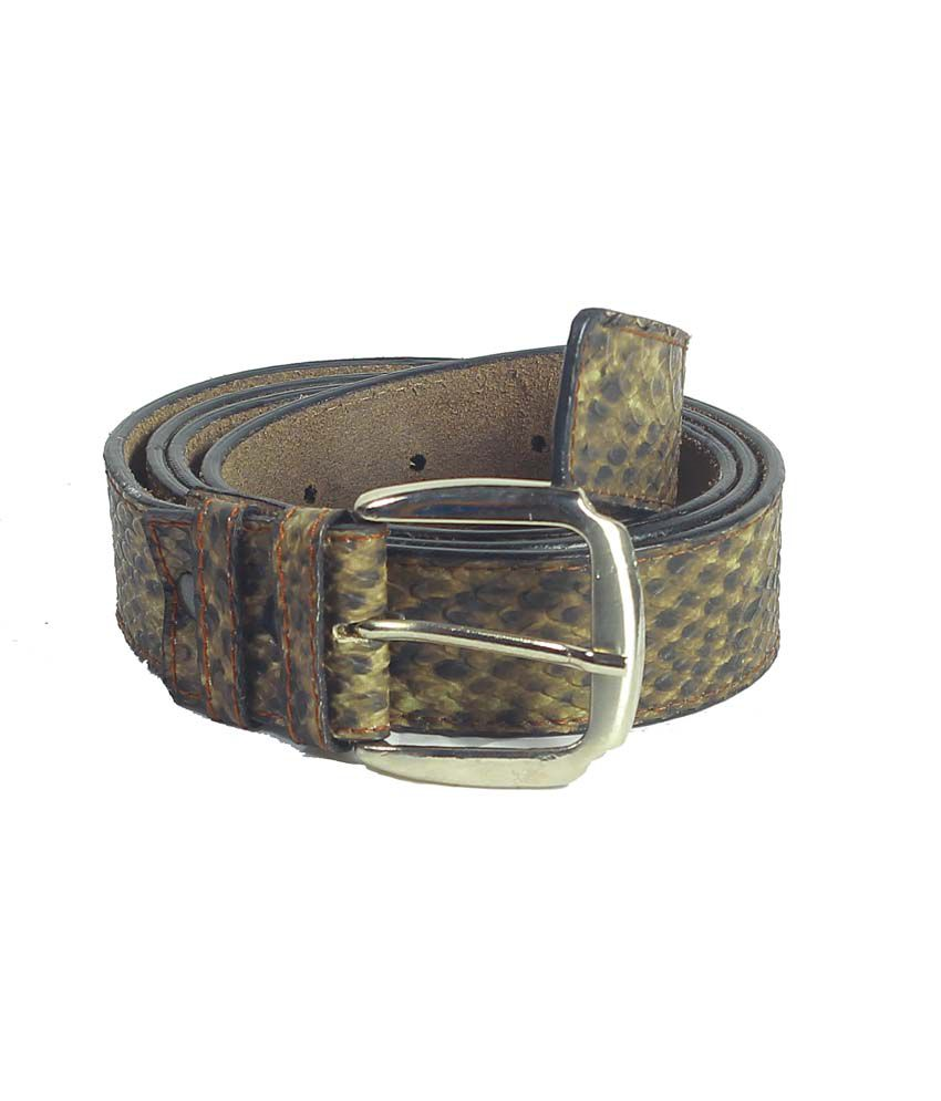 Revo Formal Mens Belt with Snake Print And Pin Buckle