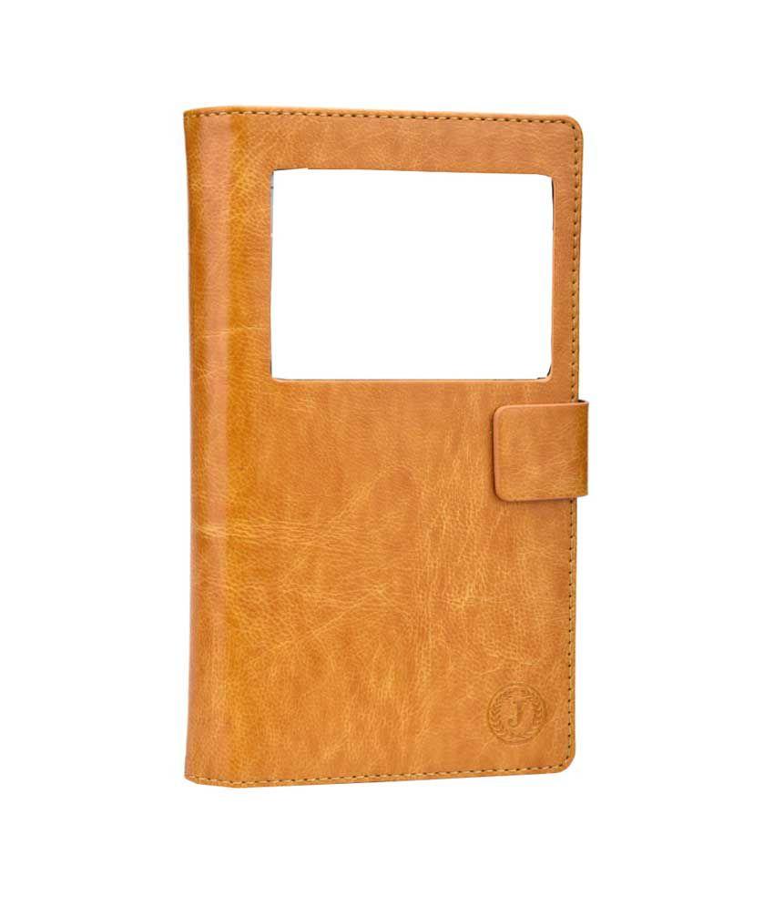 Jo Jo Synthetic Flip Cover For LG Optimus 2 - Light Brown