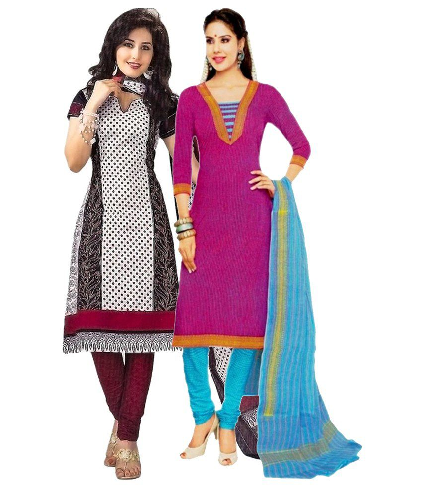 Miraan Multi Color Cotton Unstitched Dress Material