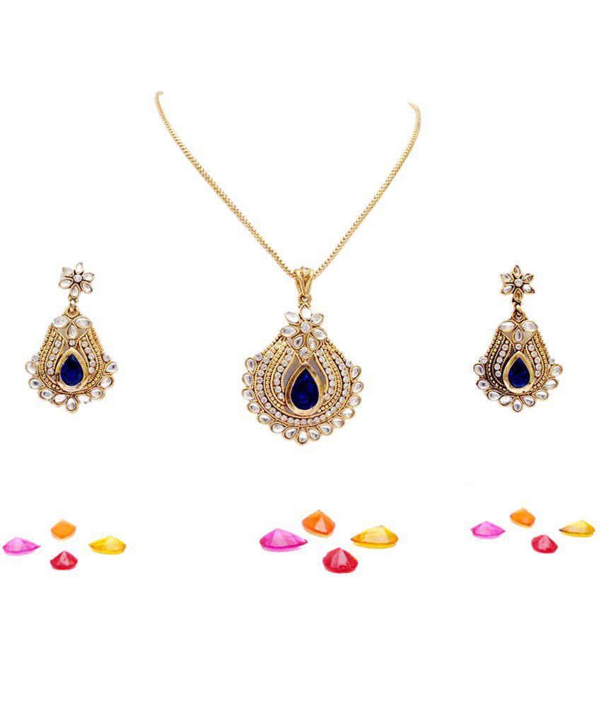 Antique Gold N Jadtar Set: Neelam Antique Ethnic Changeable Pendant Set (Gold)