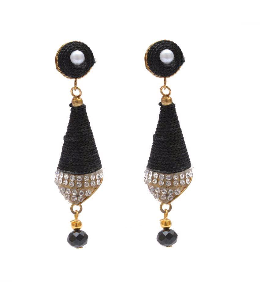 Neelam Black Alloy Style Diva Festive Jhumkis