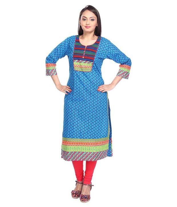 Vismit Appealing Cotton Blue Designer Kurti for Women