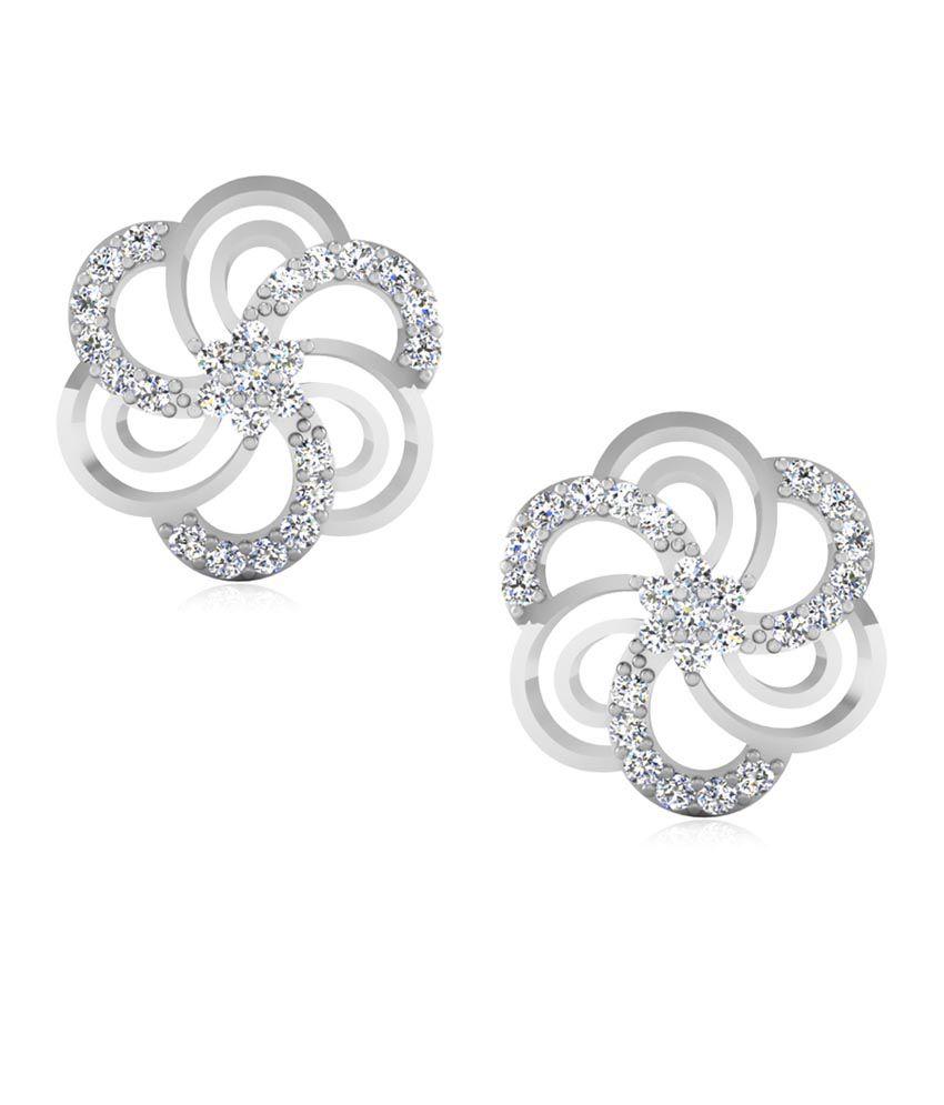 IskiUski Floral 14kt Gold Swarovski Magnetic Floral Earrings