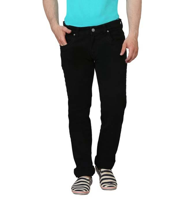 Ripfly Black Cotton Blend Jeans For Men