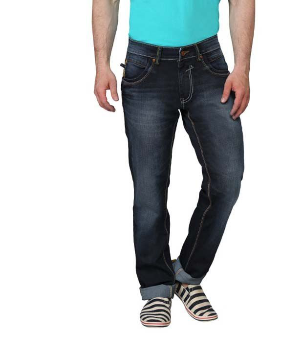 Ripfly Navy Cotton Blend Jeans For Men
