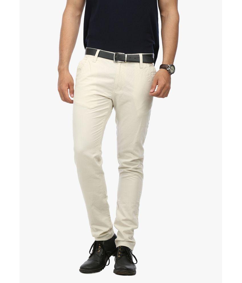 Wear Your Mind Beige Linen Casual Trouser