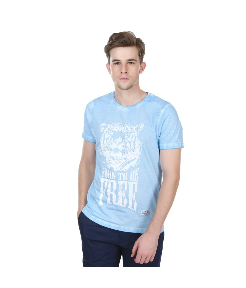 Henry And Smith Vintage Washed Blue Printed T Shirt
