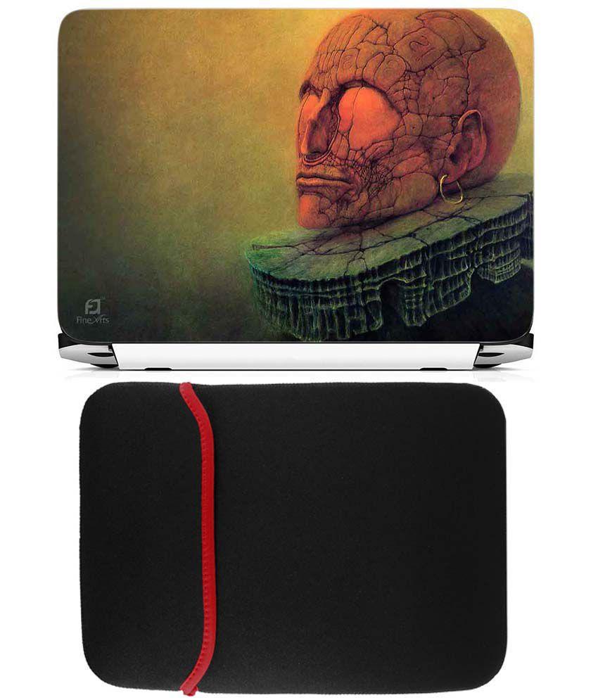 Anwesha's Reversible Laptop Sleeve With Laptop Skin - Skull Design
