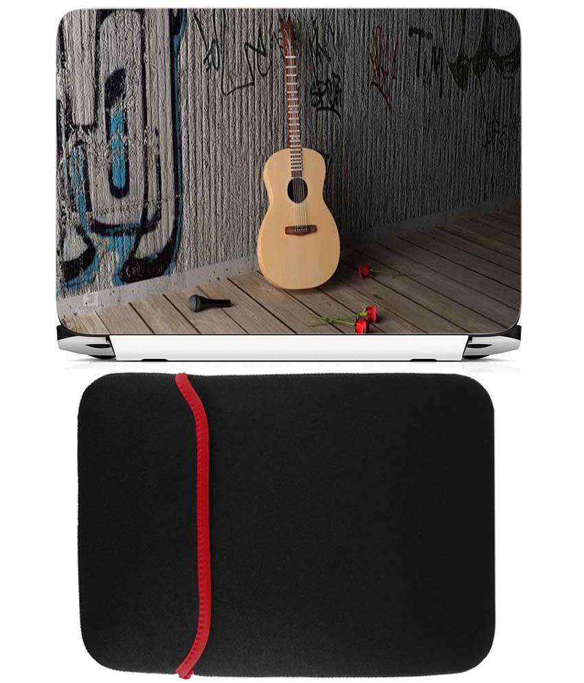 Anwesha's Reversible Laptop Sleeve With Laptop Skin - Guitar with Rose