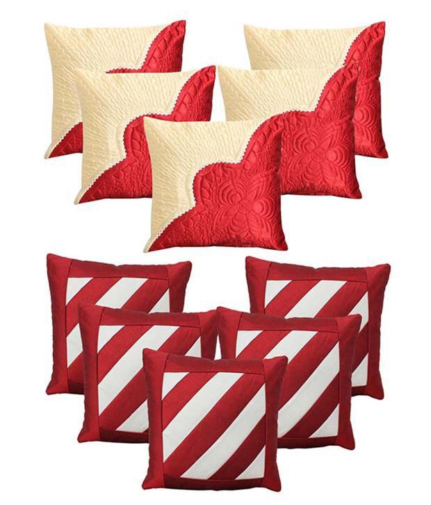 Car Vastra Tulip Maroon & Dairsy White & Maroon Cushion Cover Set Of 10