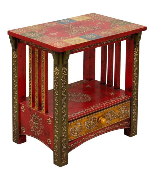Solid Wood Side Table in Red