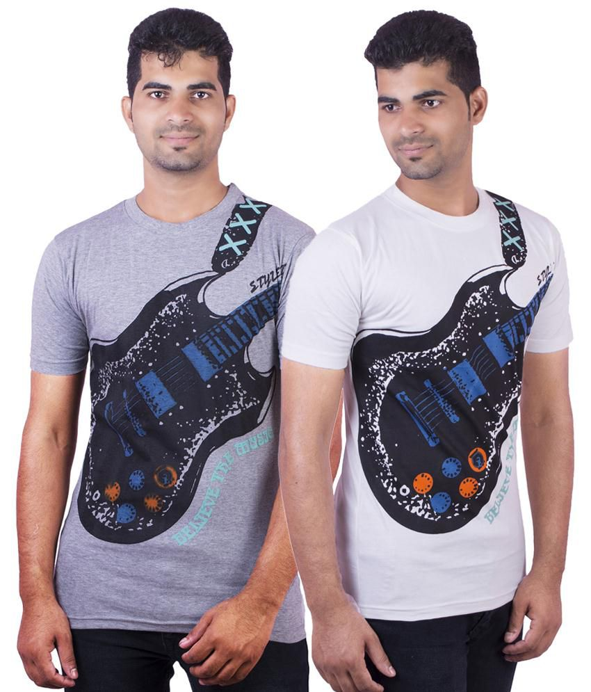 Dkclues Stylish Pack of 2 Gray & White Half Sleeve Graphic T Shirts for Men