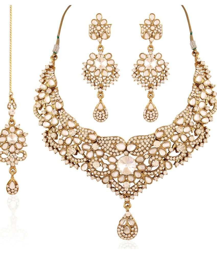 I Jewels Gold Plated Traditional Kundan Necklace Set With Maang Tika