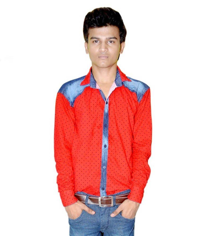 Kumar Garments Red 100 Percent Cotton Regular Printed Casual Shirt