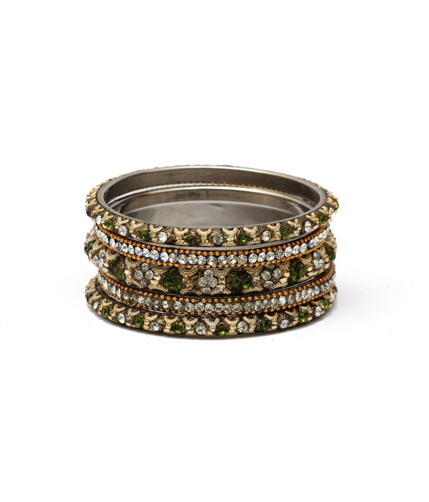 Soni_traders Green And Gold Laakh Bangle