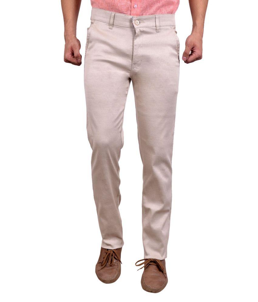 Studio Nexx Beige Cotton Slim Fit Trouser For Men