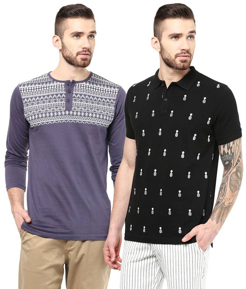 Atorse Fine Pack of 2 Purple & Black Half Sleeve T Shirts for Men