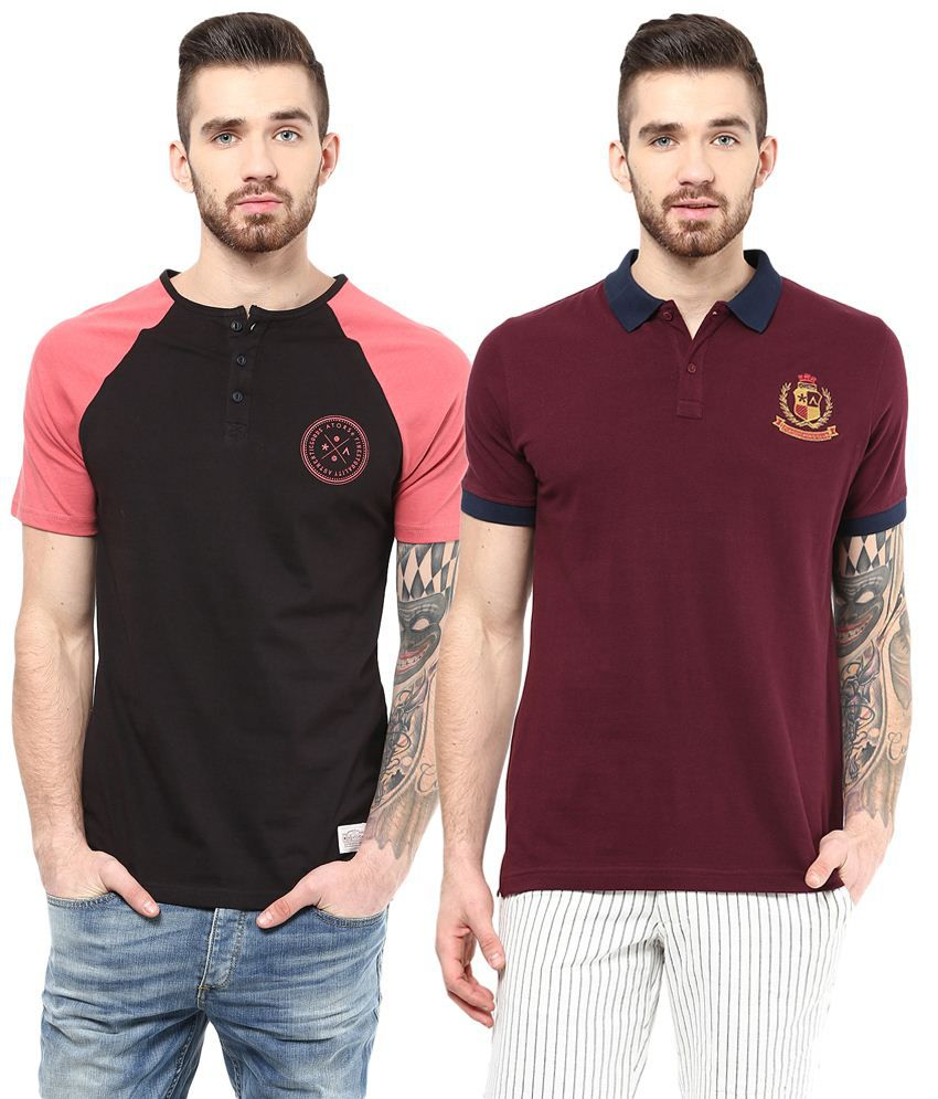 Atorse Nice Pack of 2 Pink & Maroon Half Sleeve T Shirts for Men