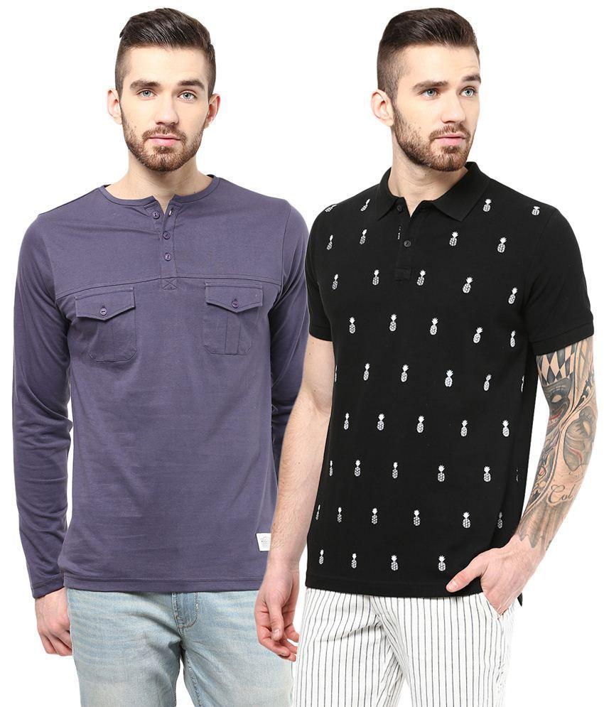 Atorse Pack of 2 Purple & Black Full Sleeve T Shirts for Men