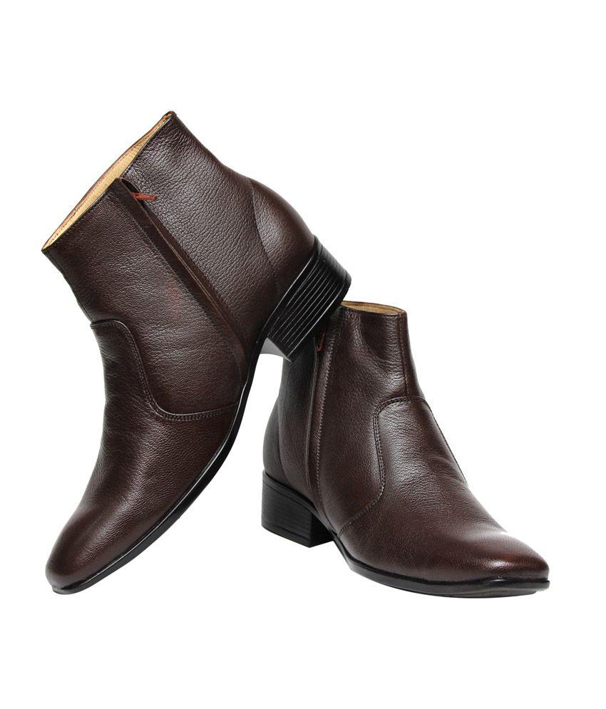 db8bd9e9c496 C Comfort Brown Leather Formal Boots for Men - Buy C Comfort Brown ...