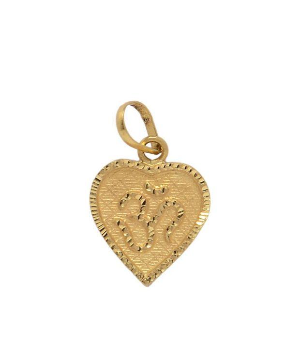 Om gold heart shaped om engraved 22k gold pendant buy om gold heart om gold heart shaped om engraved 22k gold pendant aloadofball Image collections