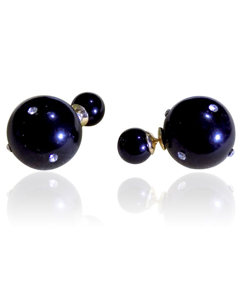 Optionsz Black Alloy Stud Earrings