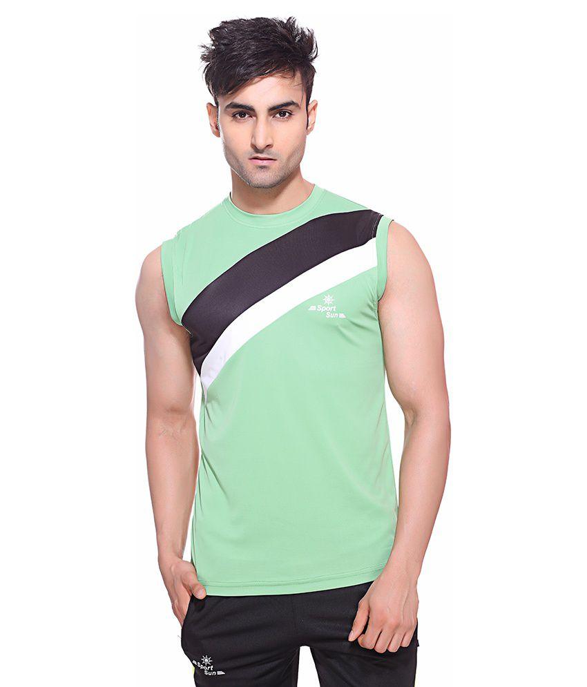 Sport Sun Green Polyester Fitness T Shirt