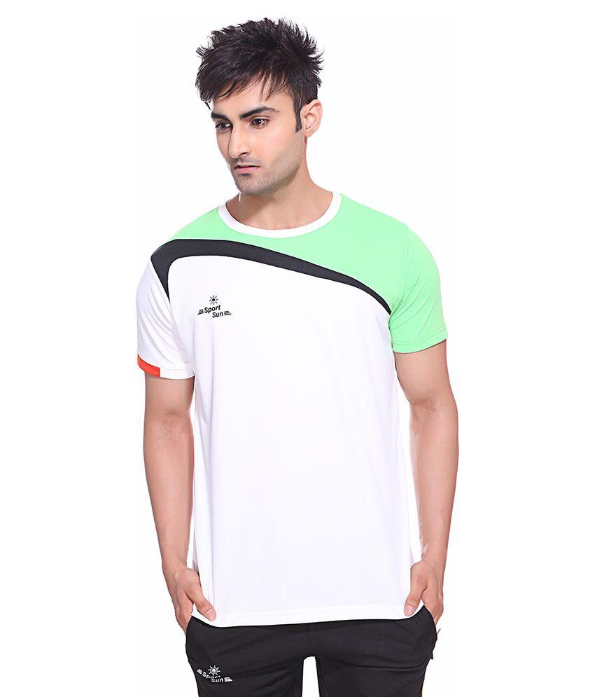 Sport Sun White Polyester Fitness T Shirt
