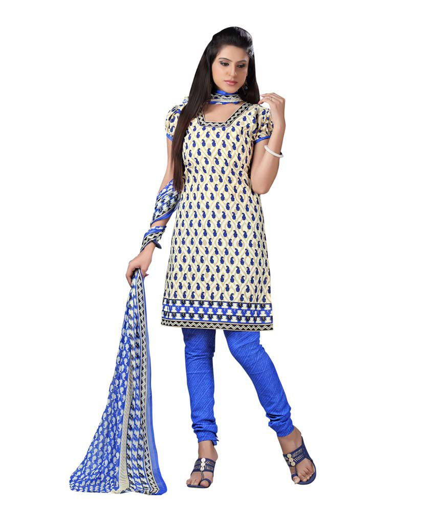 Valinta White Cotton Unstitched Dress Material
