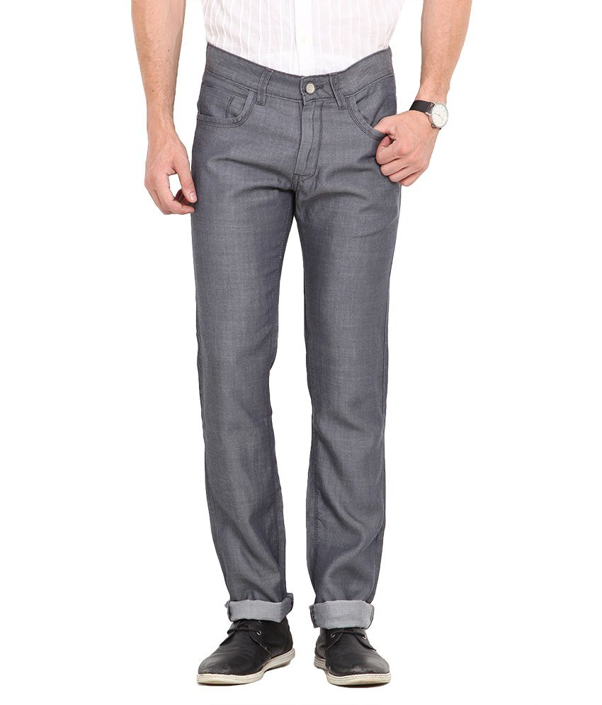 Dais Grey Cotton Slim Fit Jeans
