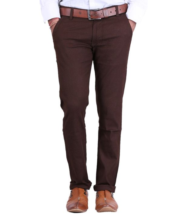 Haltung Brown Cotton Lycra Formal Trousers