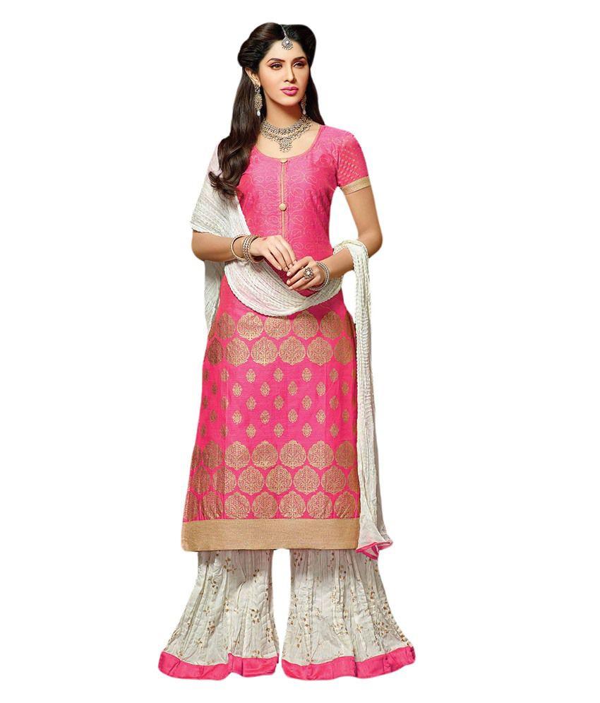 5c8433c627f Suchi Fashion Peach   Cream Chanderi Dress Material With Stitched Bottom  Plazo - Buy Suchi Fashion Peach   Cream Chanderi Dress Material With  Stitched ...