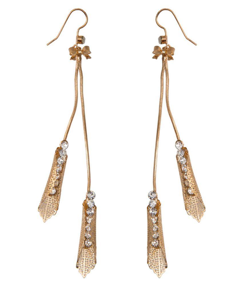 Taj Pearl Gold Designer Drop Dangle Earrings