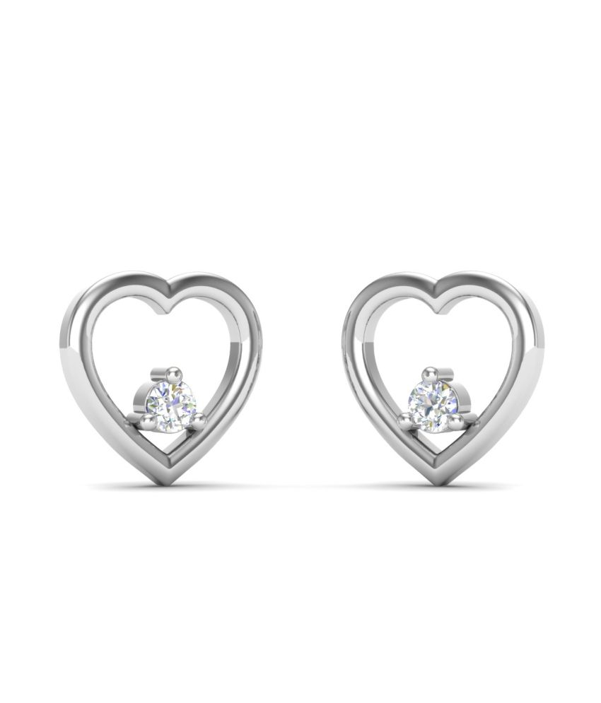 Theme Jewels Heart ER-0028, Certified Real Diamond & 14Kt Hallmarked White Gold Earring