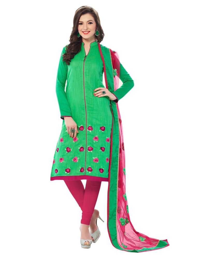 Viva N Diva Green Chanderi Un-stitched Suit