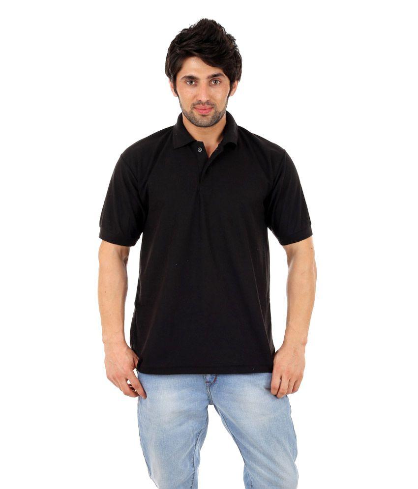 Atlanta black cotton blend half sleeves polo t shirts for for Full sleeve polo t shirts