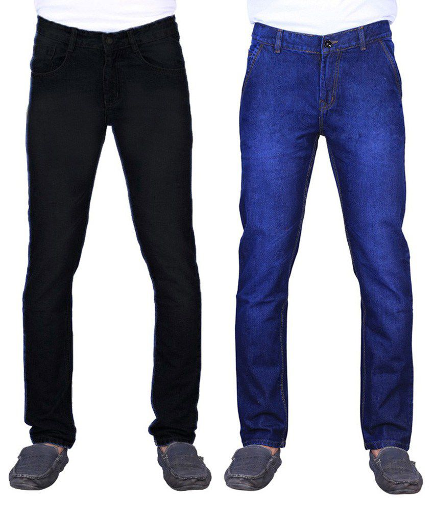Ave Blue and Black Cotton Regular Fit Faded Jeans - Pack of 2