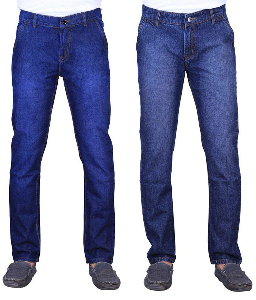 Ave Blue and Navy Cotton Regular Fit Faded Jeans - Pack of 2