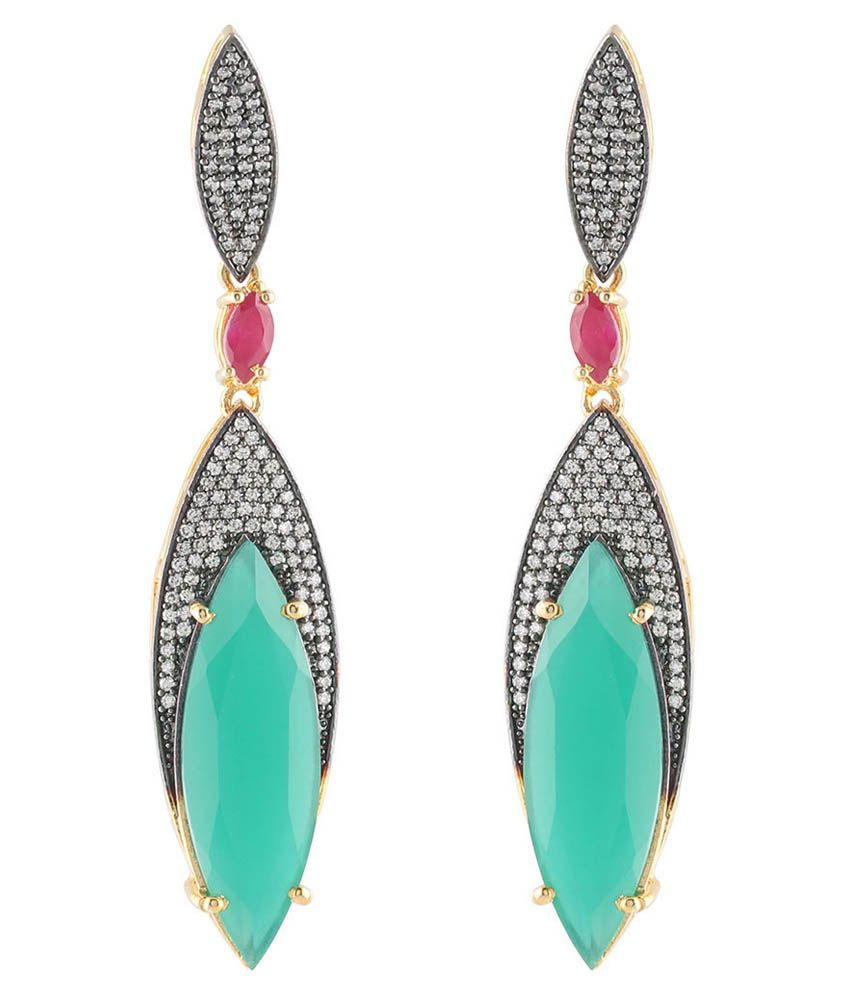 Magic Mirror Green Designer Earrings