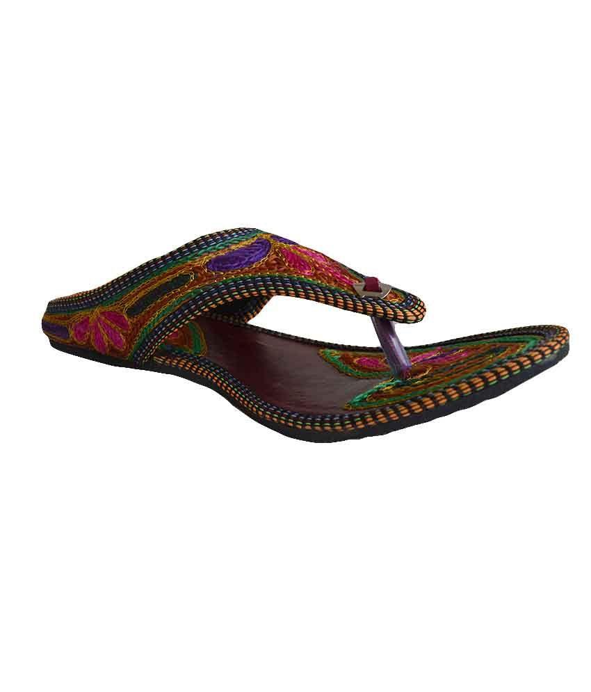 Rangaama Multicolor Faux Leather Back Open Round Toe Handmade Mojri Sandals