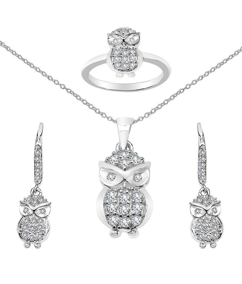 Sparkling Drop 92.5 Sterling Silver Pendant Necklace Set