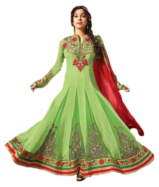 Global Fashion Green Pure Georgette Stitched Suit