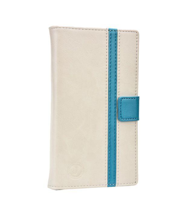 Jo Jo Cover Pluto Series Leather Pouch Flip Case For Lava A10 - White Light Blue