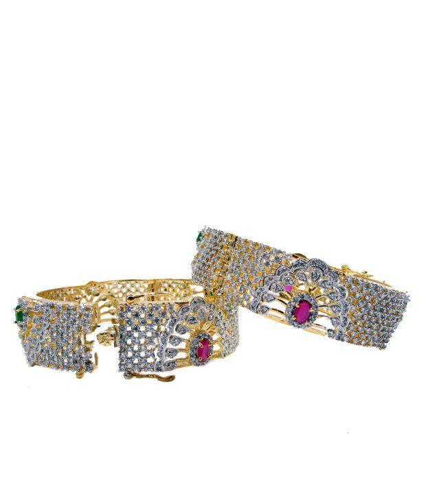 Rj American Diamond Alloy Bangle Set