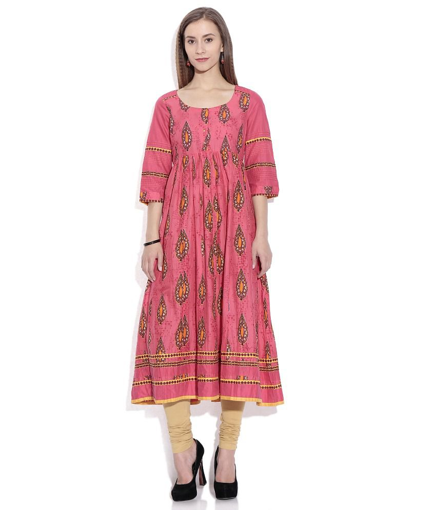 73d343ea6cd W Pink Printed Anarkali Kurta - Buy W Pink Printed Anarkali Kurta Online at Best  Prices in India on Snapdeal