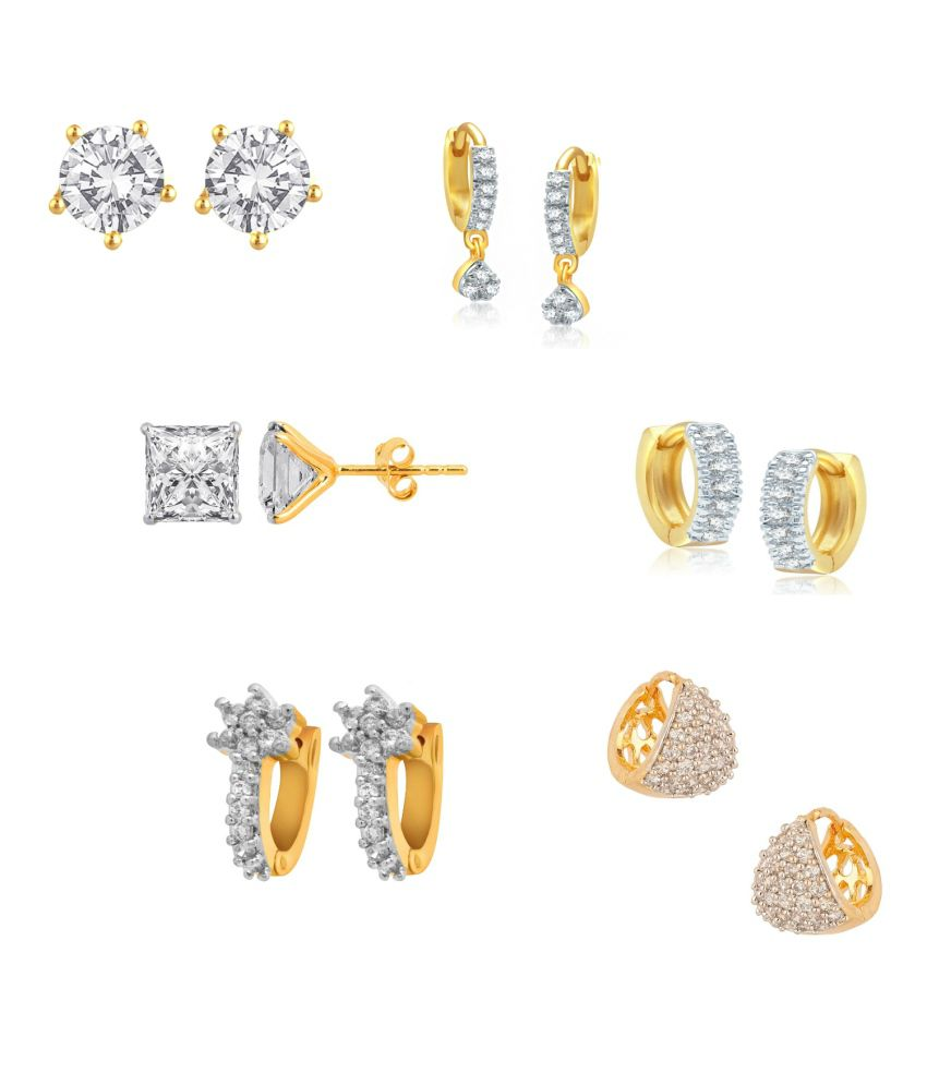 Renaissance Traders Alloy Gold Plated American Diamond Studded  Earring - Combo Of 6