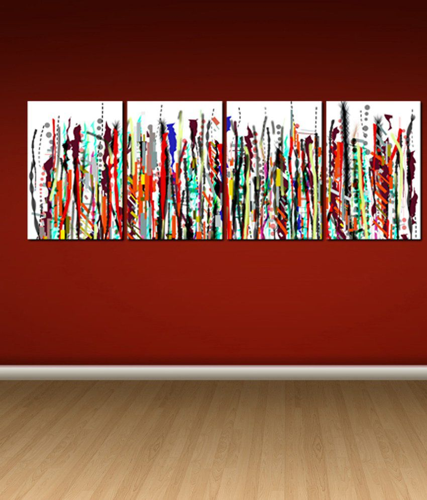 999Store Glossy Paintings With Frame Set of 4