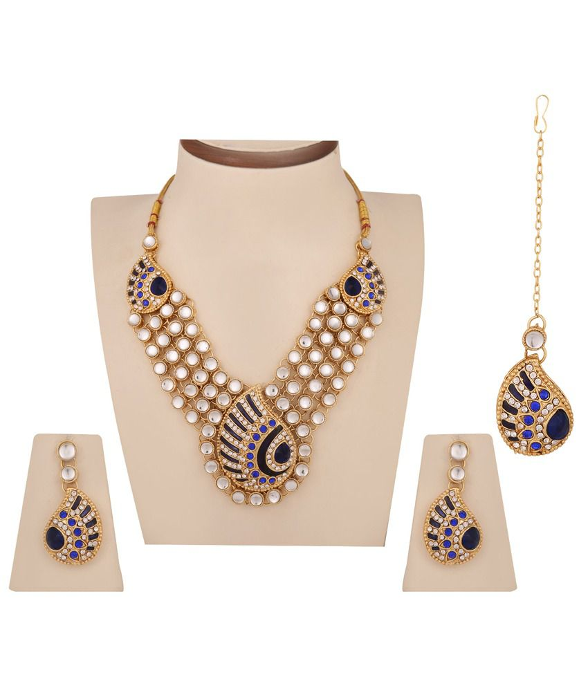 Dancing Girl Blue Traditional Festive Wear Necklace Set With Maang Tika