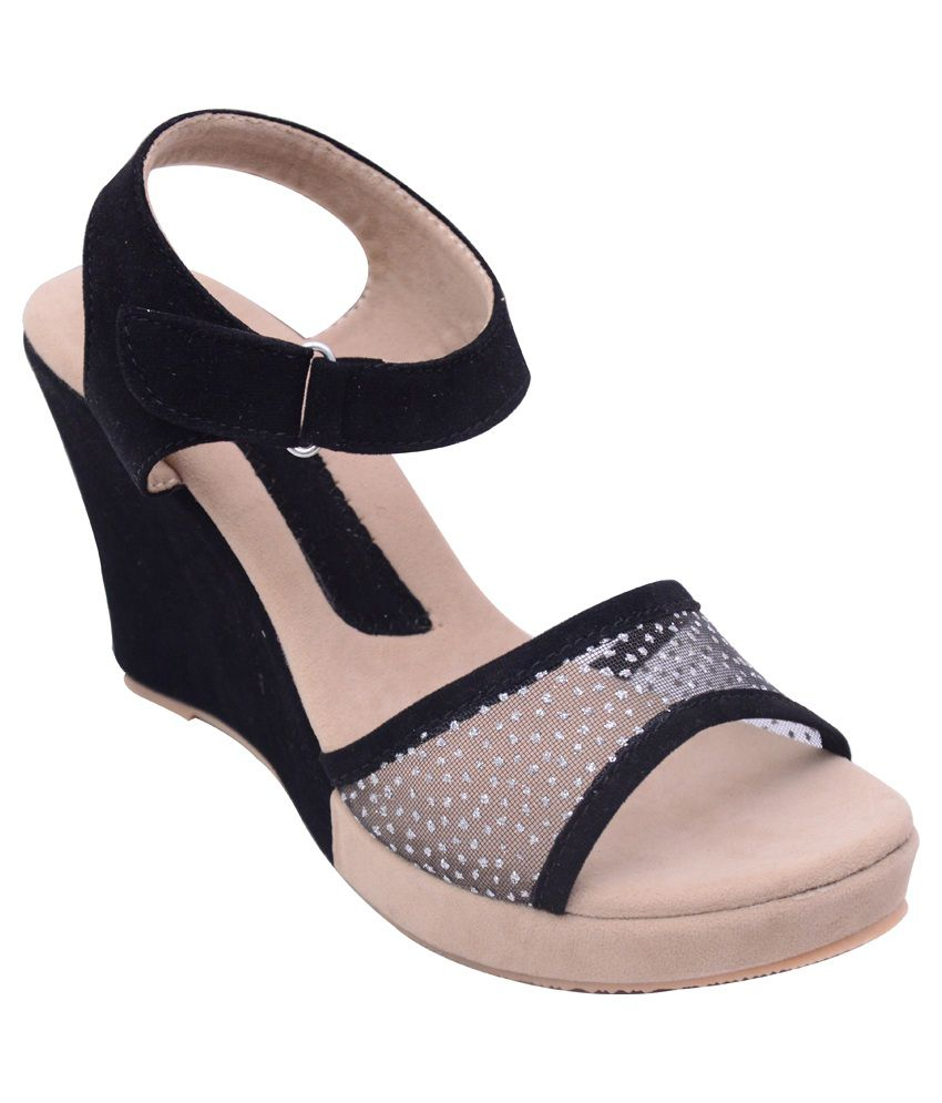 cb959beafba Heels And Toes Black Platforms High Heel Sandals Price in India- Buy Heels  And Toes Black Platforms High Heel Sandals Online at Snapdeal