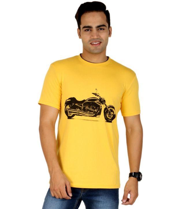 PRO Lapes Yellow Cotton Half T-Shirt For Men